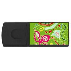Green Organic Abstract USB Flash Drive Rectangular (2 GB)