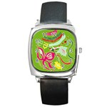 Green Organic Abstract Square Metal Watch Front