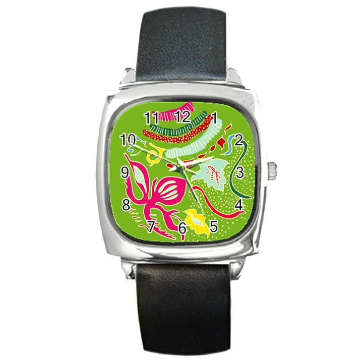 Green Organic Abstract Square Metal Watch