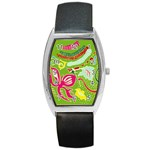 Green Organic Abstract Barrel Style Metal Watch Front