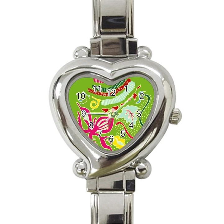 Green Organic Abstract Heart Italian Charm Watch