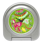 Green Organic Abstract Travel Alarm Clocks Front