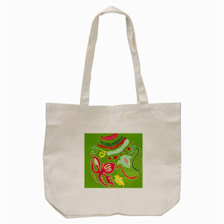 Green Organic Abstract Tote Bag (Cream)