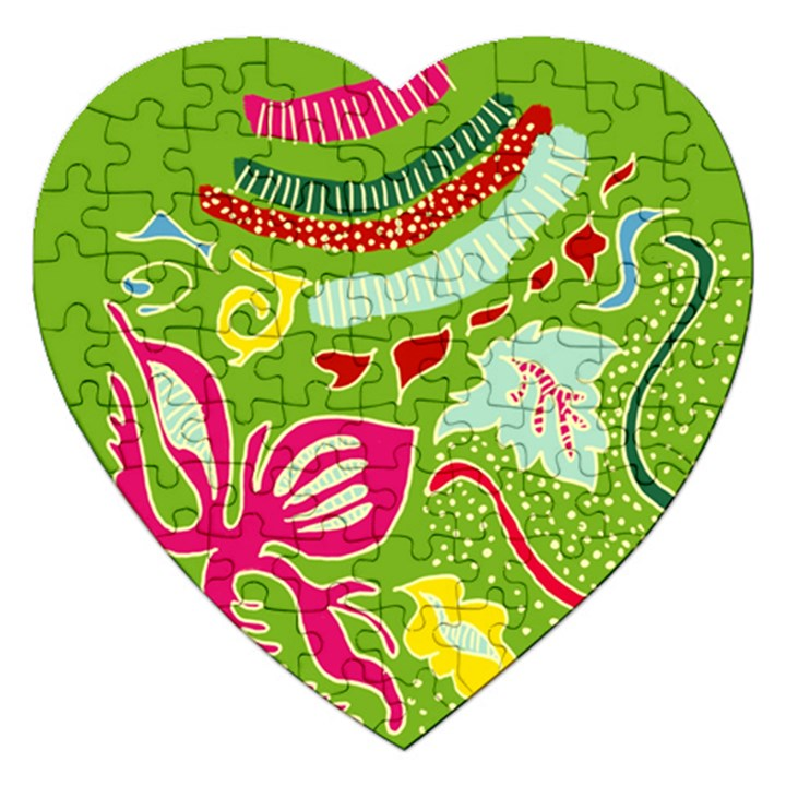 Green Organic Abstract Jigsaw Puzzle (Heart)