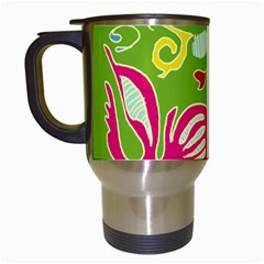 Green Organic Abstract Travel Mugs (White)
