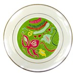 Green Organic Abstract Porcelain Plates Front