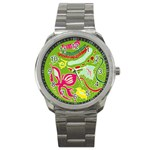 Green Organic Abstract Sport Metal Watch Front