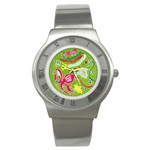 Green Organic Abstract Stainless Steel Watch Front