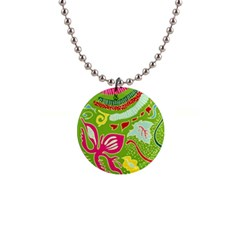 Green Organic Abstract Button Necklaces