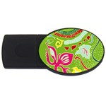 Green Organic Abstract USB Flash Drive Oval (4 GB)  Front
