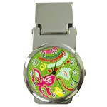 Green Organic Abstract Money Clip Watches Front