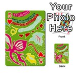 Green Organic Abstract Playing Cards 54 Designs  Front - Heart5