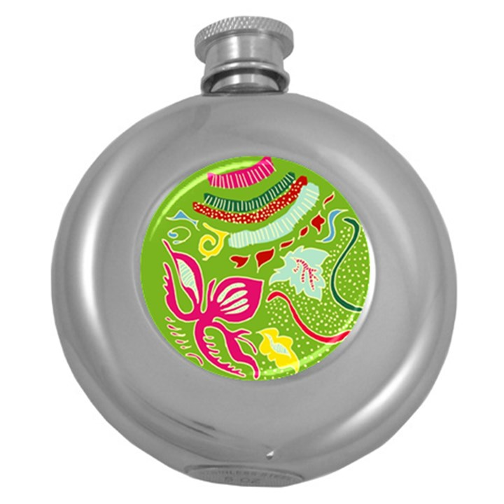 Green Organic Abstract Round Hip Flask (5 oz)