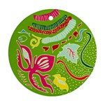 Green Organic Abstract Round Ornament (Two Sides)  Front