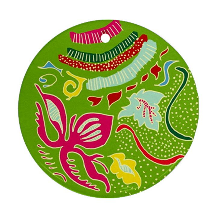 Green Organic Abstract Round Ornament (Two Sides)