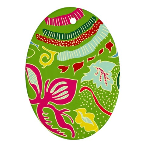 Green Organic Abstract Oval Ornament (Two Sides)