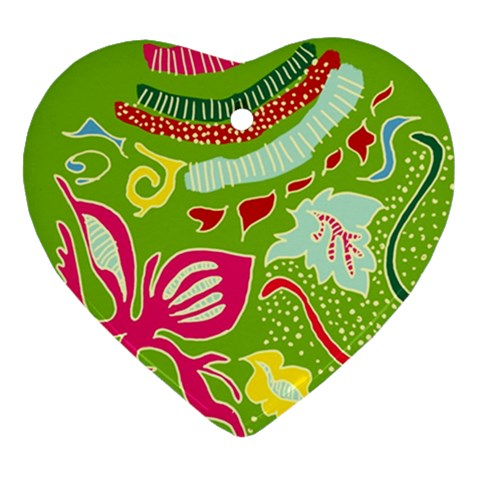 Green Organic Abstract Heart Ornament (2 Sides)