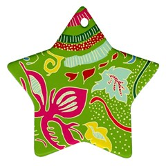 Green Organic Abstract Star Ornament (Two Sides)