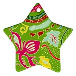 Green Organic Abstract Star Ornament (Two Sides)  Back