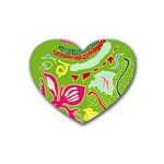 Green Organic Abstract Heart Coaster (4 pack)  Front