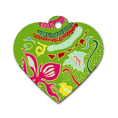 Green Organic Abstract Dog Tag Heart (One Side)
