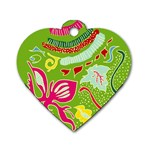Green Organic Abstract Dog Tag Heart (One Side) Front