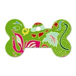 Green Organic Abstract Dog Tag Bone (Two Sides) Front