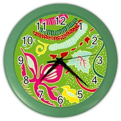 Green Organic Abstract Color Wall Clocks