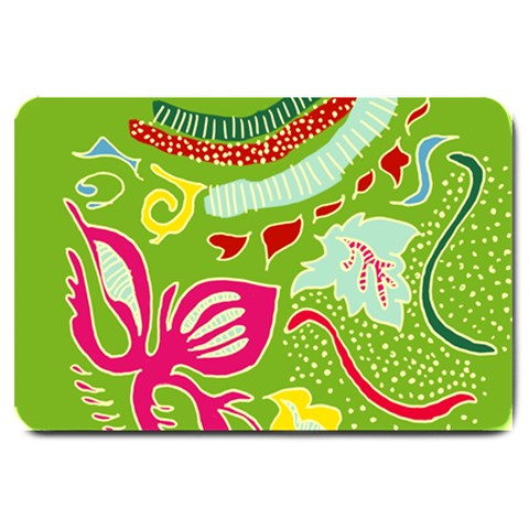 Green Organic Abstract Large Doormat