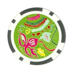 Green Organic Abstract Poker Chip Card Guards Back