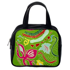 Green Organic Abstract Classic Handbags (One Side)
