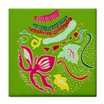 Green Organic Abstract Face Towel Front