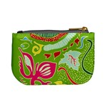 Green Organic Abstract Mini Coin Purses Back