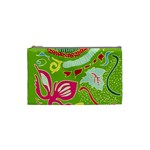 Green Organic Abstract Cosmetic Bag (Small)  Front