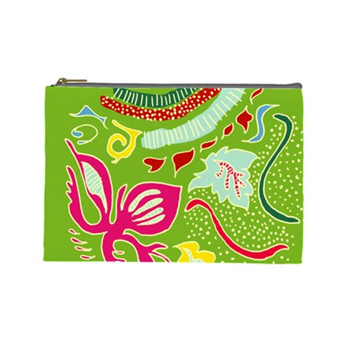 Green Organic Abstract Cosmetic Bag (Large)