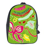 Green Organic Abstract School Bags(Large)  Front