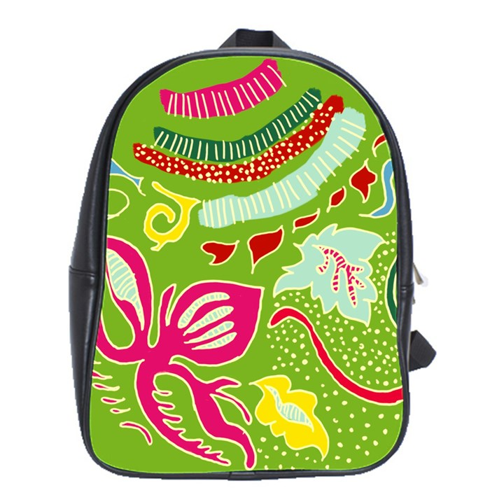 Green Organic Abstract School Bags(Large)