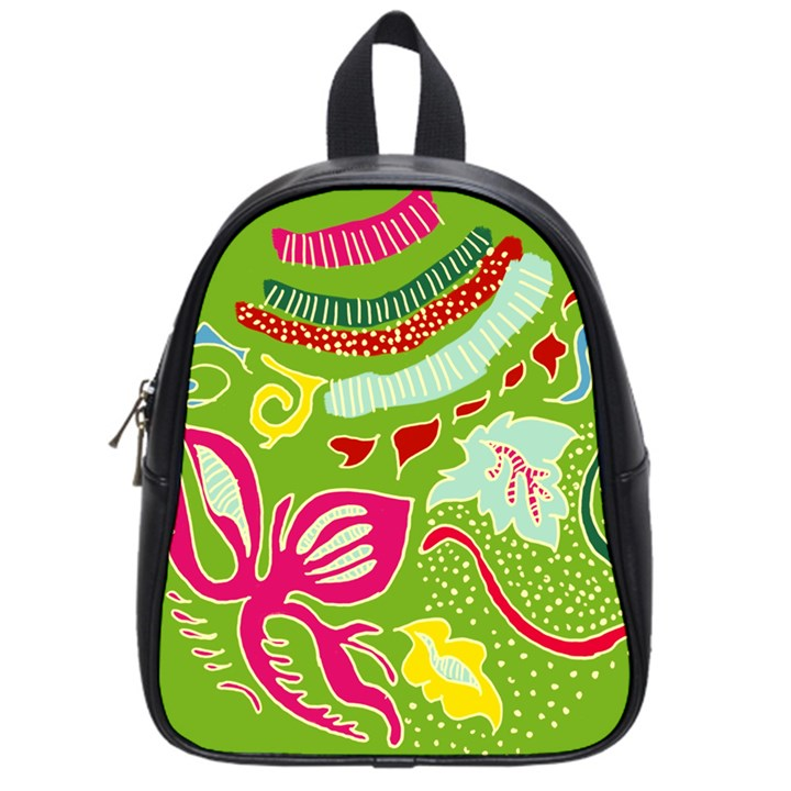 Green Organic Abstract School Bags (Small)