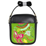 Green Organic Abstract Girls Sling Bags Front