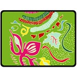 Green Organic Abstract Fleece Blanket (Large)  80 x60 Blanket Front