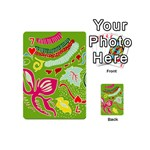 Green Organic Abstract Playing Cards 54 (Mini)  Front - Heart7