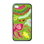 Green Organic Abstract Apple iPhone 4 Case (Black) Front