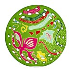 Green Organic Abstract Ornament (Round Filigree)  Front