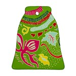 Green Organic Abstract Bell Ornament (2 Sides) Back