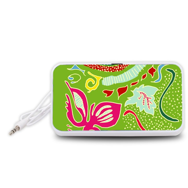 Green Organic Abstract Portable Speaker (White)