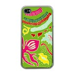 Green Organic Abstract Apple iPhone 4 Case (Clear) Front