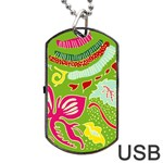 Green Organic Abstract Dog Tag USB Flash (One Side) Front
