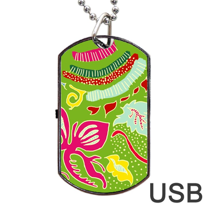 Green Organic Abstract Dog Tag USB Flash (Two Sides)