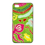 Green Organic Abstract Apple iPhone 4/4s Seamless Case (Black) Front