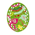 Green Organic Abstract Ornament (Oval Filigree)  Front